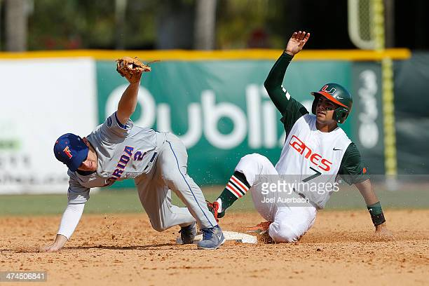 Casey Turgeon of the Florida Gators gets Alex Hernandez of the Miami Hurricanes out in the seventh inning on February 23 2014 at Alex Rodriguez Park...