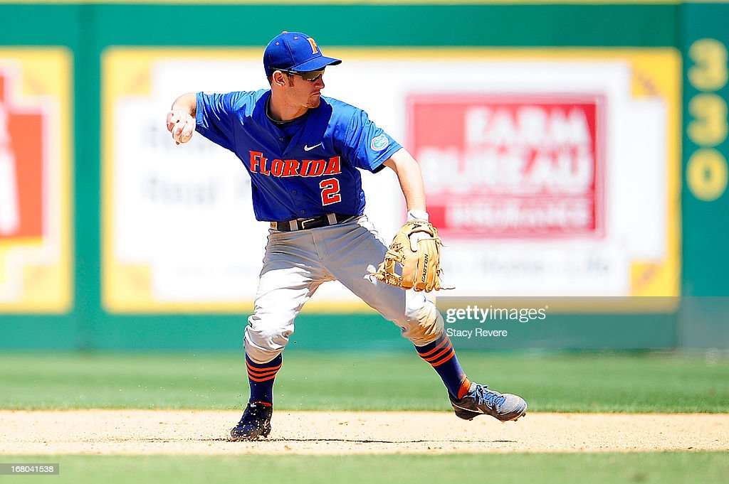 Casey Turgeon #2 of the Florida Gators throws to first base during a game against the LSU Tigers at Alex Box Stadium on May 4, 2013 in Baton Rouge, Louisiana.