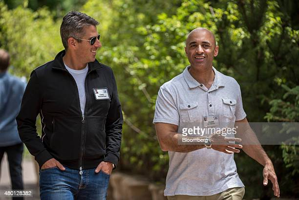 Casey Wasserman chief executive officer of Wasserman Media Group left and Yousef alOtaiba ambassador of the United Arab Emirates to the US talk as...
