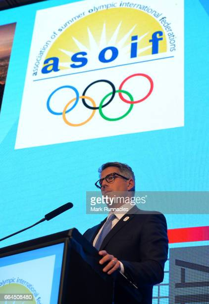 Casey Wasserman of the Los Angles 2024 Summer Olympic bid speaking at a presentation at the ASOIF general Assembly during the third day of...