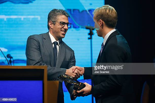 Casey Wasserman presents Jordan Wilimovsky with the Male Race of the Year Award at the 2015 USA Swimming Golden Goggle Awards at JW Marriot at LA...