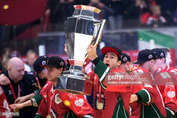 Casey Wellman celebrates after winning the Champions Hockey League Final between Frolunda Gothenburg and Sparta Prague at Frolundaborgs Isstadion on...
