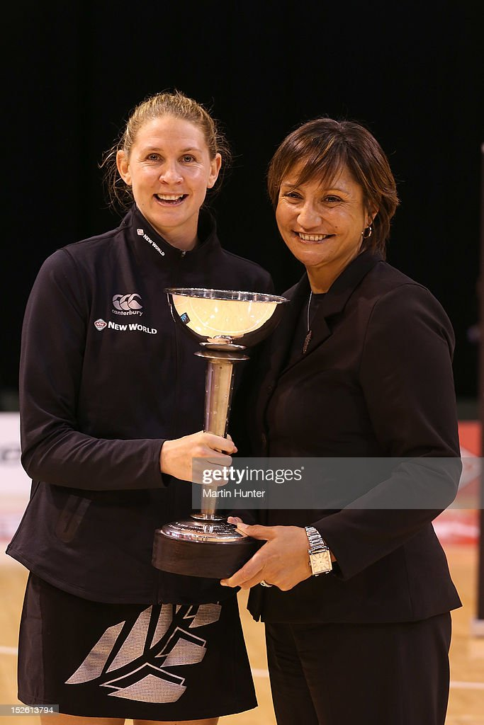 Casey Williams (L) and Waimarama Taumauna of New Zealand pose with the Constellation Cup after the Constellation Cup match between the New Zealand Silver Ferns and the Australian Diamonds at CBS Canterbury Arena on September 23, 2012 in Christchurch, New Zealand.