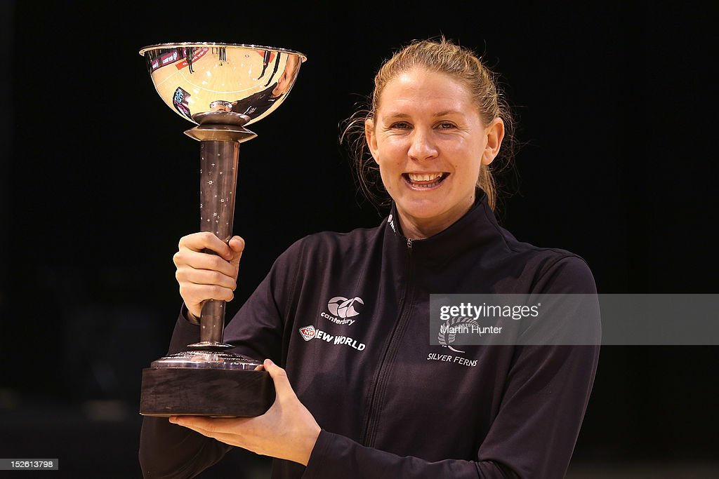 Casey Williams of New Zealand poses with the Constellation Cup after the Constellation Cup match between the New Zealand Silver Ferns and the Australian Diamonds at CBS Canterbury Arena on September 23, 2012 in Christchurch, New Zealand.
