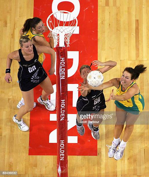 Casey Williams of the Silver Ferns and Kate Beveridge of the Diamonds compete for the ball during game one of the Holden Netball Test Series between...
