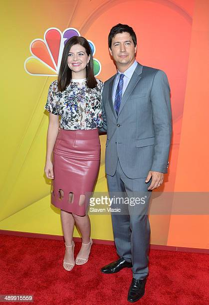 Casey Wilson and Ken Marino attend the 2014 NBC Upfront Presentation at The Jacob K Javits Convention Center on May 12 2014 in New York City