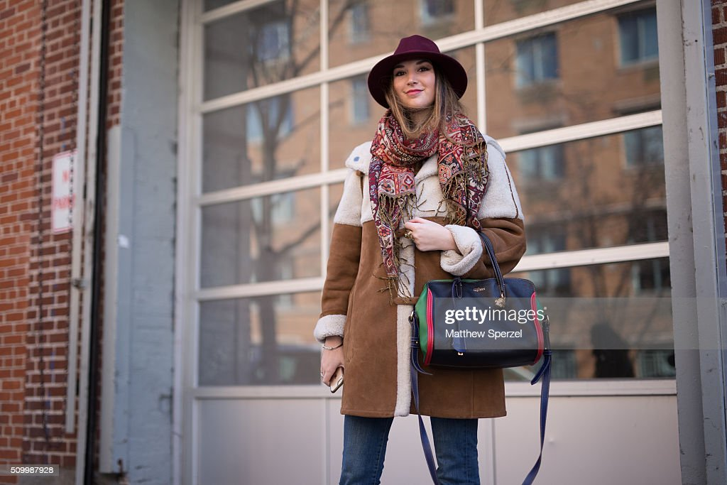 Casey Winston is seen at Jill Stuart wearing Parisian local hat, Thailand local scarf, Saks coat, Zara pants, Mcqueen bag, Chanel shoes during New York Fashion Week: Women's Fall/Winter 2016 on February 13, 2016 in New York City.