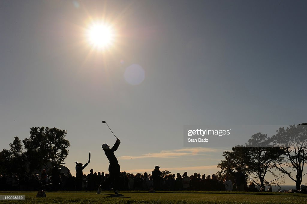 Casey Wittenberg hits a drive on the 18th hole during the final round of the Farmers Insurance Open at Torrey Pines Golf Course on January 28, 2013 in La Jolla, California.