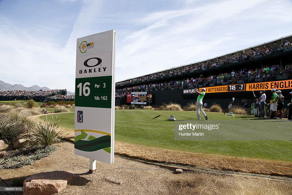 Casey Wittenberg hits his tee shot on the 16th hole during the third round of the Waste Management Phoenix Open at TPC Scottsdale on February 2, 2013 in Scottsdale, Arizona.