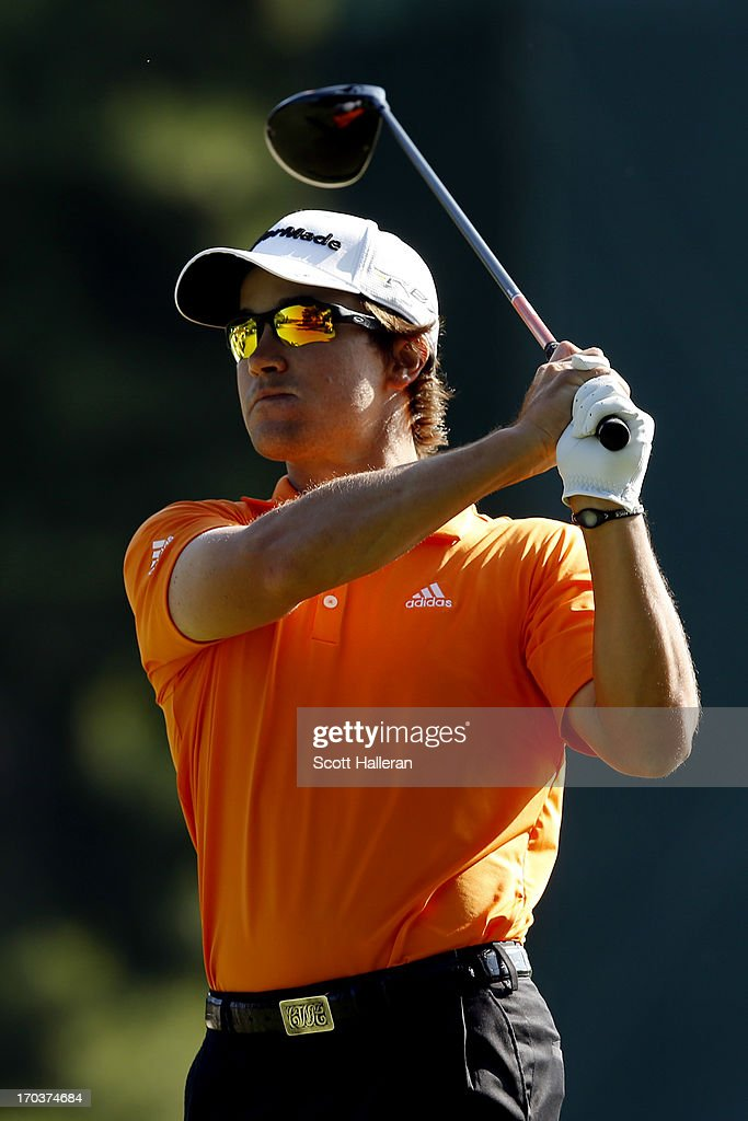 Casey Wittenberg of the United States hits a tee shot during a practice round prior to the start of the 113th U.S. Open at Merion Golf Club on June 12, 2013 in Ardmore, Pennsylvania.