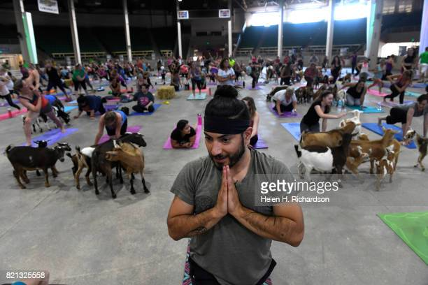 Casey Woodrow of Denver tries to stay focused in a yoga pose as dozens of goats walk around the yoga floor during goat yoga at the Denver County Fair...