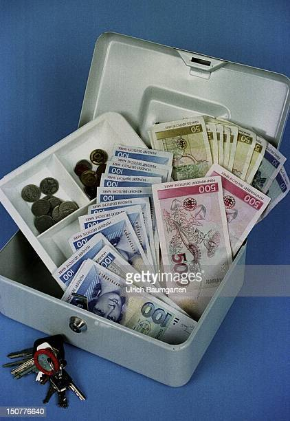 Cash box filled with DM coins and notes
