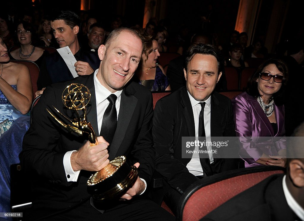 'Cash Cab' host Ben Bailey (L) and executive producer Antony Tackaberry, recipients of the Outstanding Game/Audience Participation Show award for 'Cash Cab' in the audience at the 36th Annual Daytime Emmy Awards at The Orpheum Theatre on August 30, 2009 in Los Angeles, California.