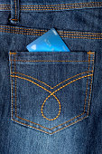 Debit card placed in back pocket of a jeans