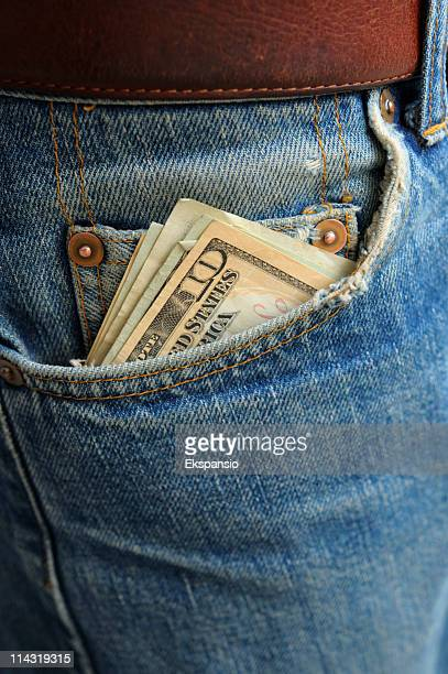 Cash in Worn Denim Jeans Pocket series - ten dollars