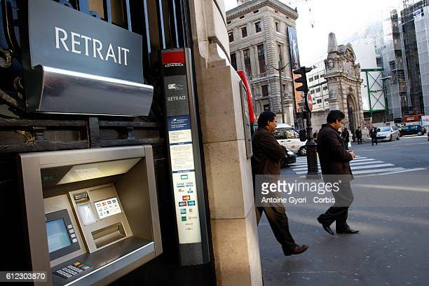 A cash machine outside the headquarters of the French banking group Societe Generale located on Boulevard Haussman in Paris Societe Generale...