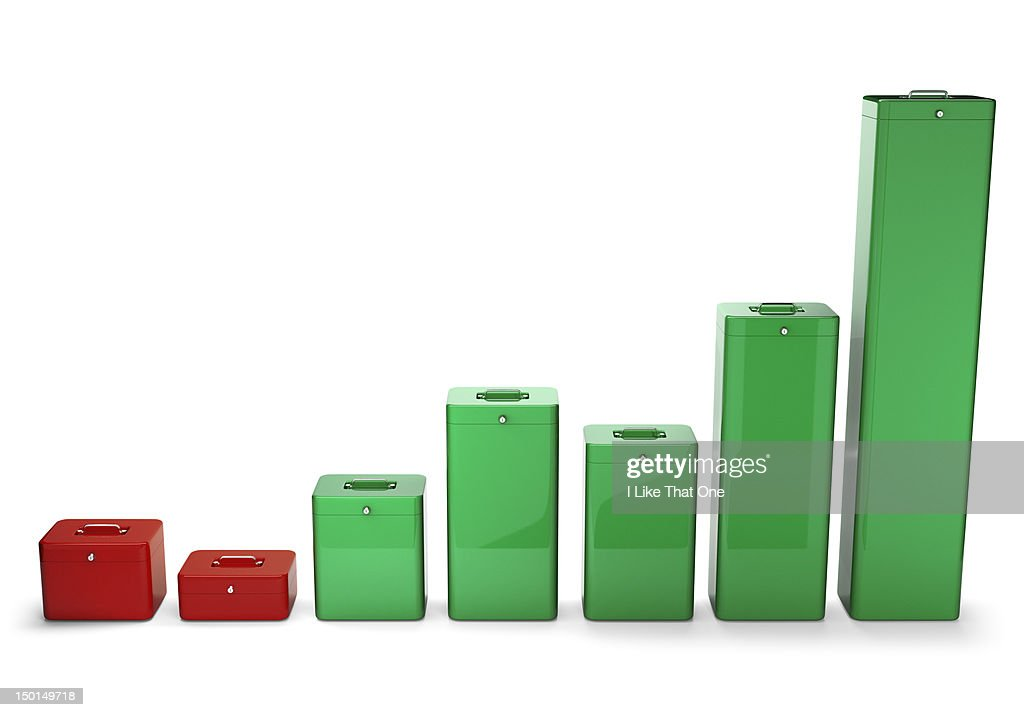 Cash security boxes forming a graph chart : Stock Photo