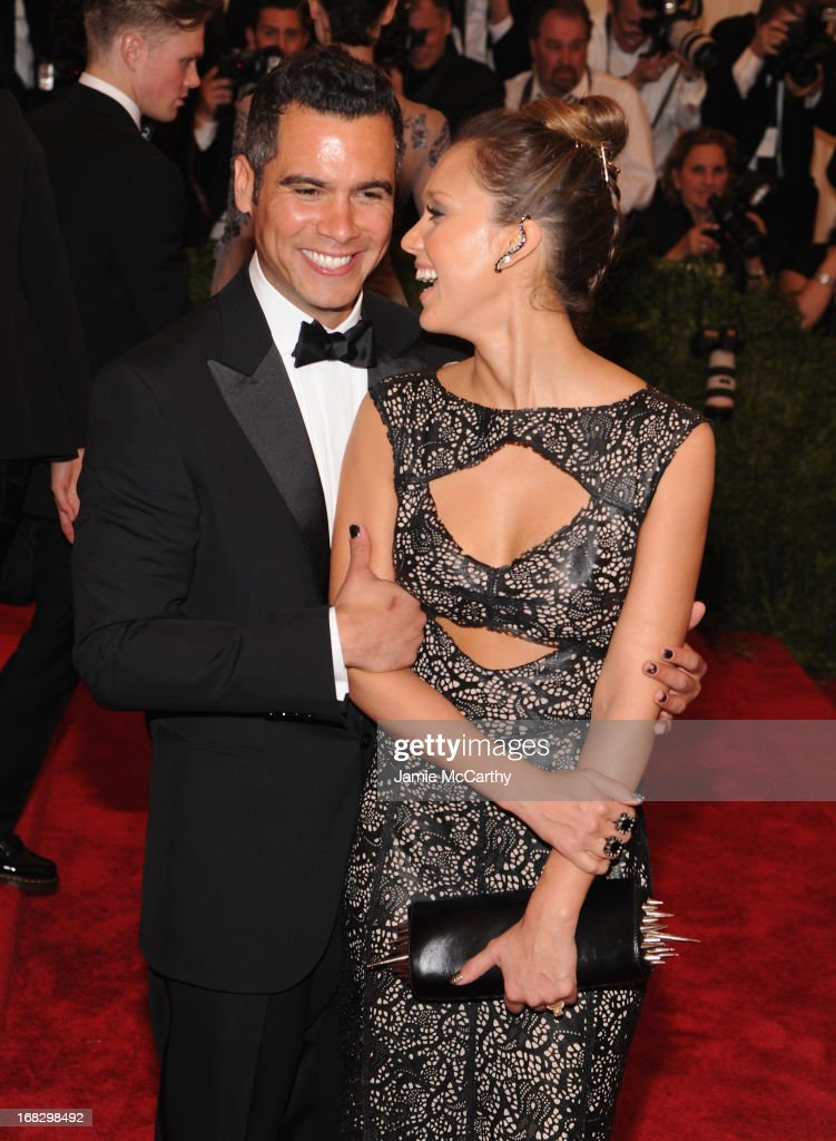Cash Warren (L) and Jessica Alba attend the Costume Institute Gala for the 'PUNK: Chaos to Couture' exhibition at the Metropolitan Museum of Art on May 6, 2013 in New York City.