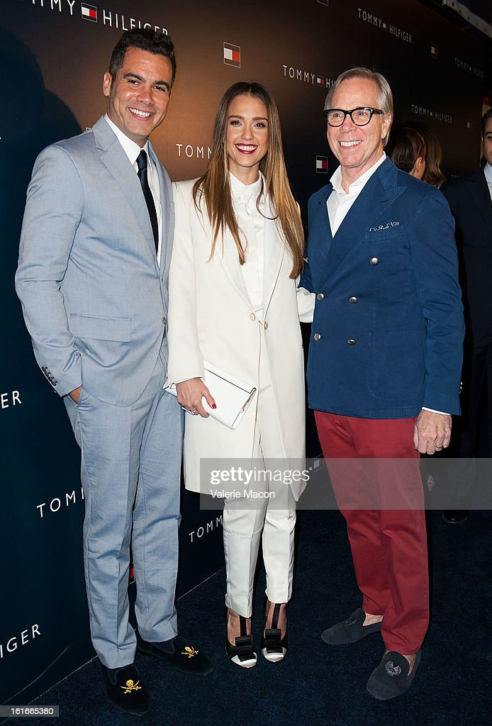 Cash Warren, Jessica Alba and Tommy Hilfiger arrives at the Tommy Hilfiger LA Flagship Opening on February 13, 2013 in Los Angeles, California.