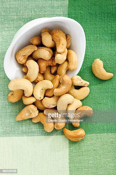 Cashews in bowl, elevated view