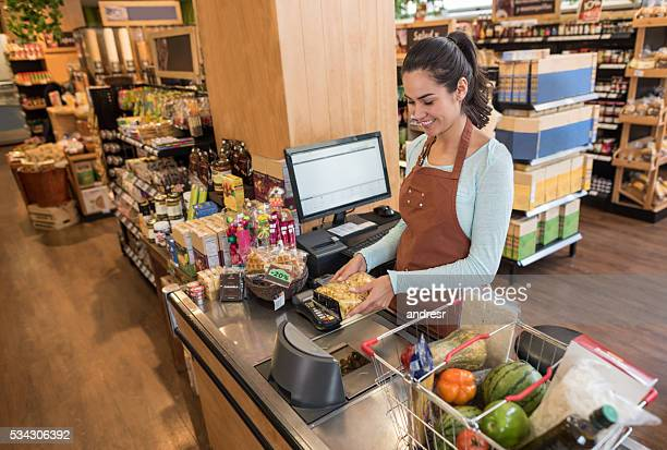 Cashier working at a supermarket