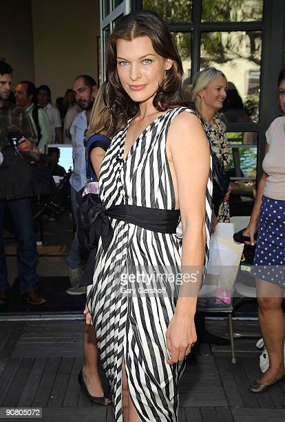 Cashmere Mist model Milla Jovovich attends New York Fashion Week at the Stephen Weiss Studio on September 14 2009 in New York City