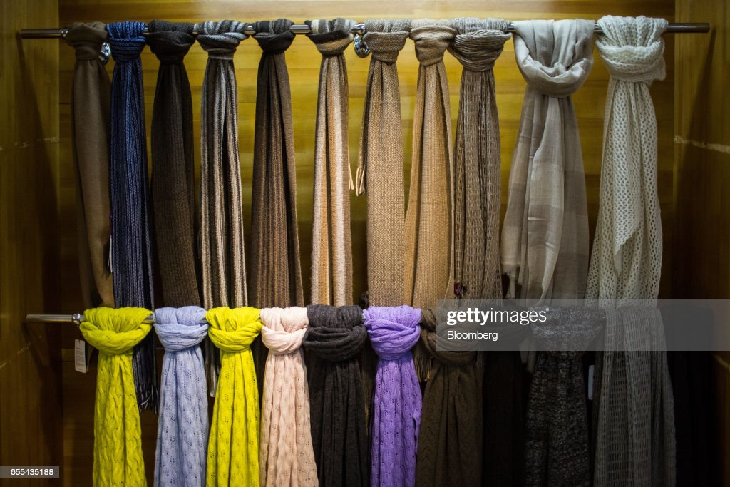 Cashmere scarves are displayed at a Bodios Co. store in Ulaanbaatar, Mongolia, on Wednesday, March 15, 2017. Mongolia's gross domestic product is expected to expand eight percent by 2019, and then grown at around five to six percent after that, International Monetary Fund (IMF) Mission Chief for Mongolia, Koshy Mathai, said in an interview last month with Bloomberg Mongolia TV. Photographer: Taylor Weidman/Bloomberg via Getty Images