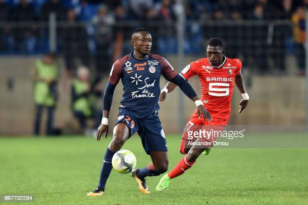 Casimir Ninga of Montpellier and Christ Emmanuel Maouassa of Rennes during the Ligue 1 match between Montpellier Herault SC and Stade Rennais at...
