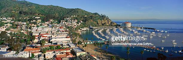 'Casino building and Avalon Harbor, Avalon, Catalina Island, California'