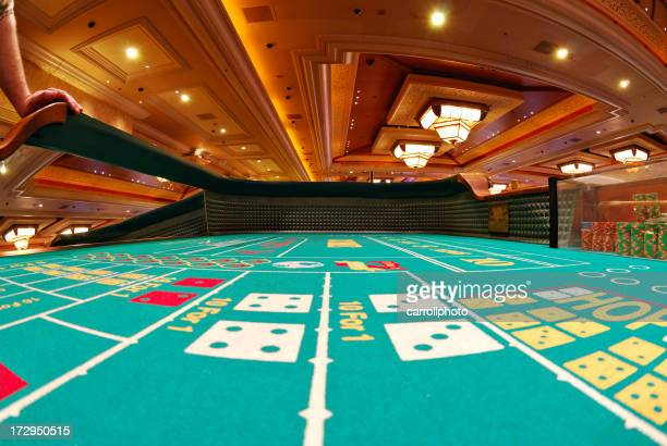 Casino craps table covered by rainbow static
