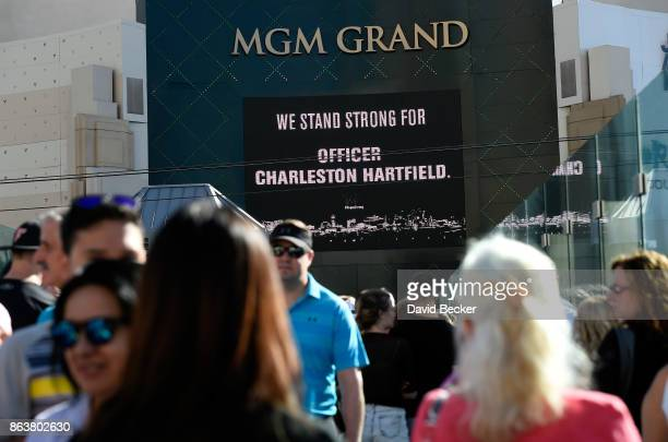 A casino marquee displays support for Las Vegas Metropolitan Police Department Officer Charleston Hartfield during a motorcade on the Las Vegas Strip...