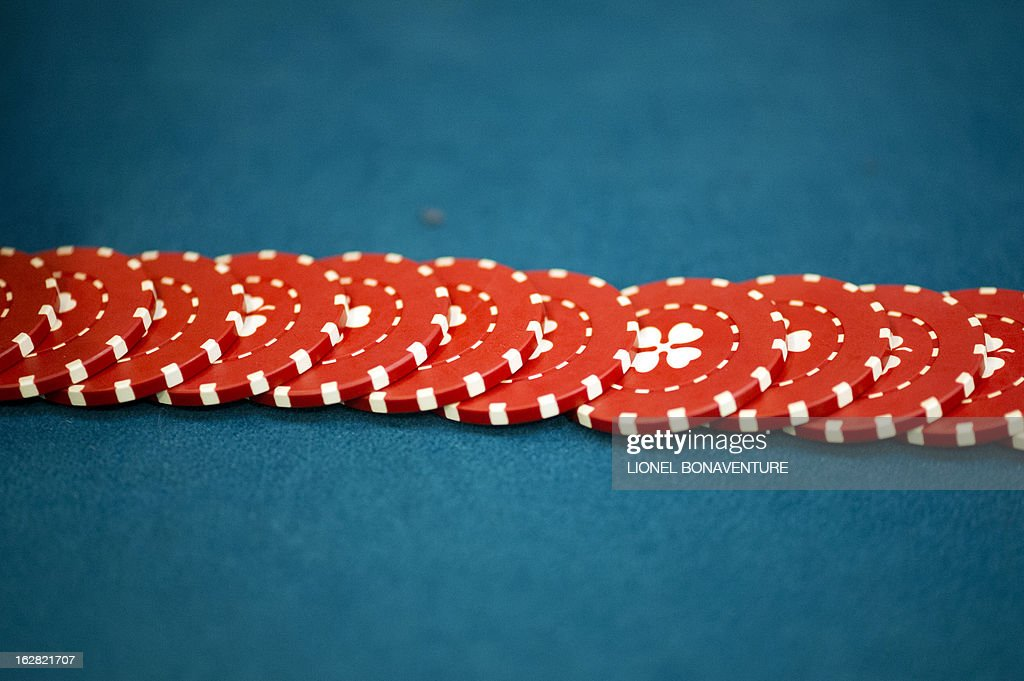 Casino tokens are pictured in the Cerus Casino Academy, a school for croupiers in Paris, on February 27, 2013.