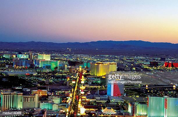 Casinos on the strip at night in Las Vegas, Nevada, USA