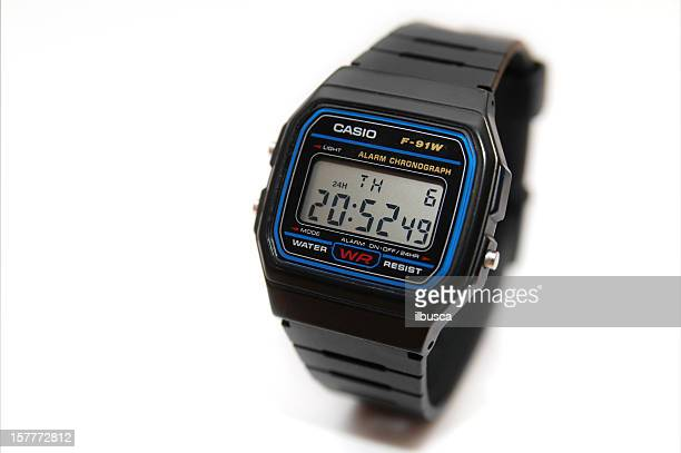 Casio F-91W watch studio photograph isolated on white