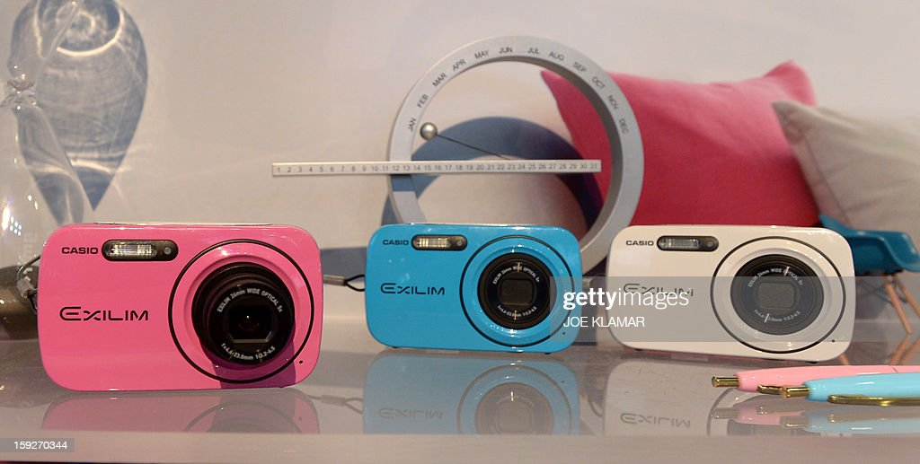 Casio's EX-N1 cameras on display at CASIO booth at the 2013 International CES at the Las Vegas Convention Center on January 10, 2013 in Las Vegas, Nevada. CES, the world's largest annual consumer technology trade show, runs from January 8-11 and is expected to feature 3,100 exhibitors showing off their latest products and services to about 150,000 attendees.AFP PHOTO / JOE KLAMAR