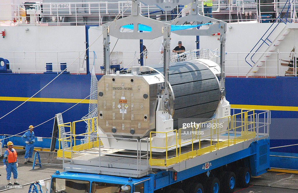 A cask of container of MOX fuel, a blend of plutonium and uranium, is unloaded from a vessel at Kansai Electric Power Co's (KEPCO) Takahama nuclear power plant in Fukui prefecture on June 27, 2013. A vessel loaded with reprocessed nuclear fuel from France arrived at a Japanese nuclear plant, the first such shipment since the Fukushima disaster as utilities lobby to restart their atomic reactors.