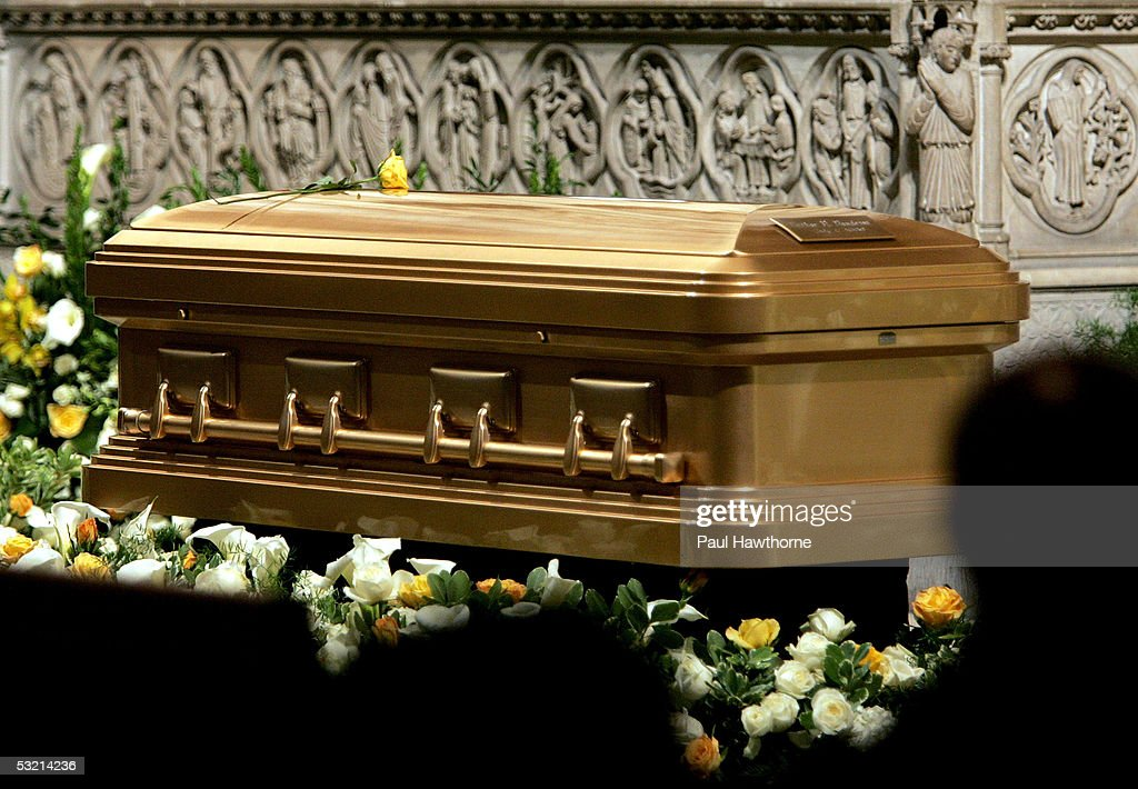 A casket containing the body of Luther Vandross sits at the front of the Riverside Church during Vandross' funeral July 8 2005 in New York City