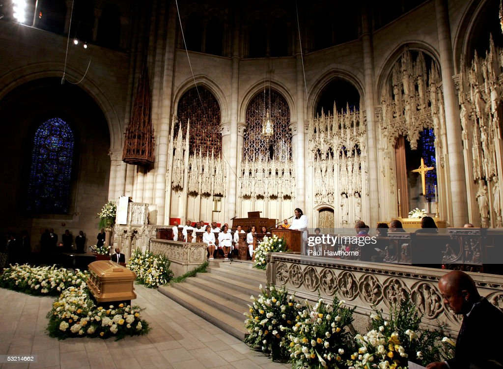 A casket containing the body of Luther Vandross sits at the front of the Riverside Church during Vandross' funeral July 8, 2005 in New York City.