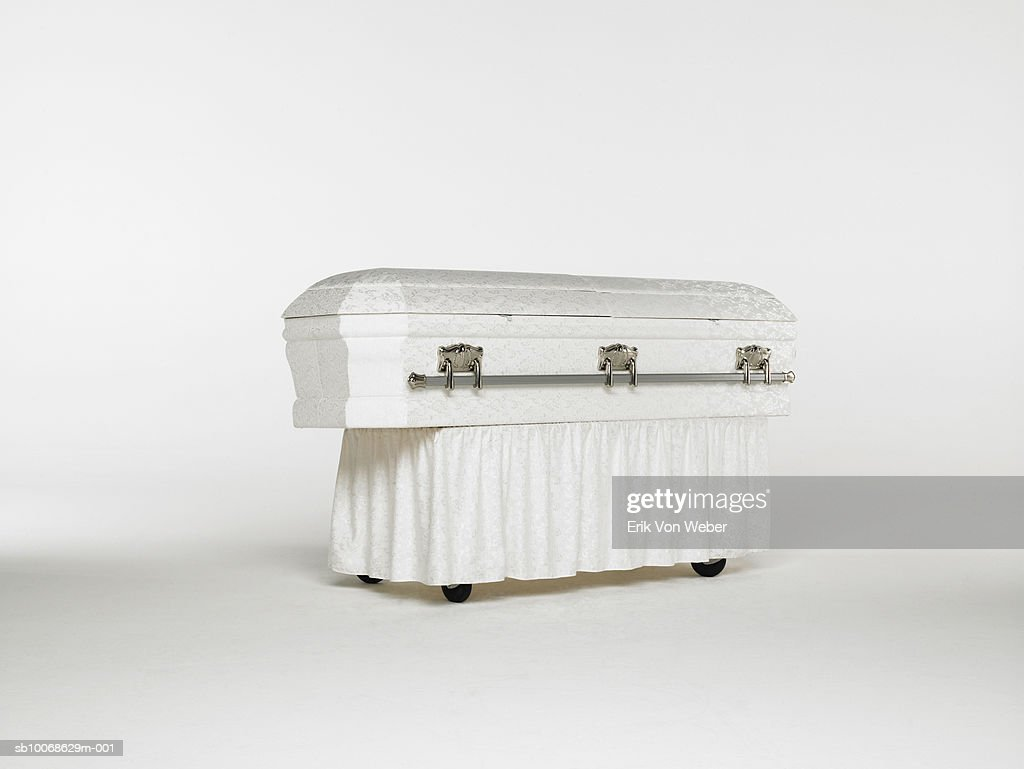 Casket on white background