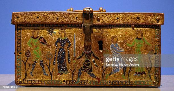 Casket with scenes of courtly love Copper gilt enamel Limoges France Troubadour poets entertained the courts of Europe with love ballads The front of...