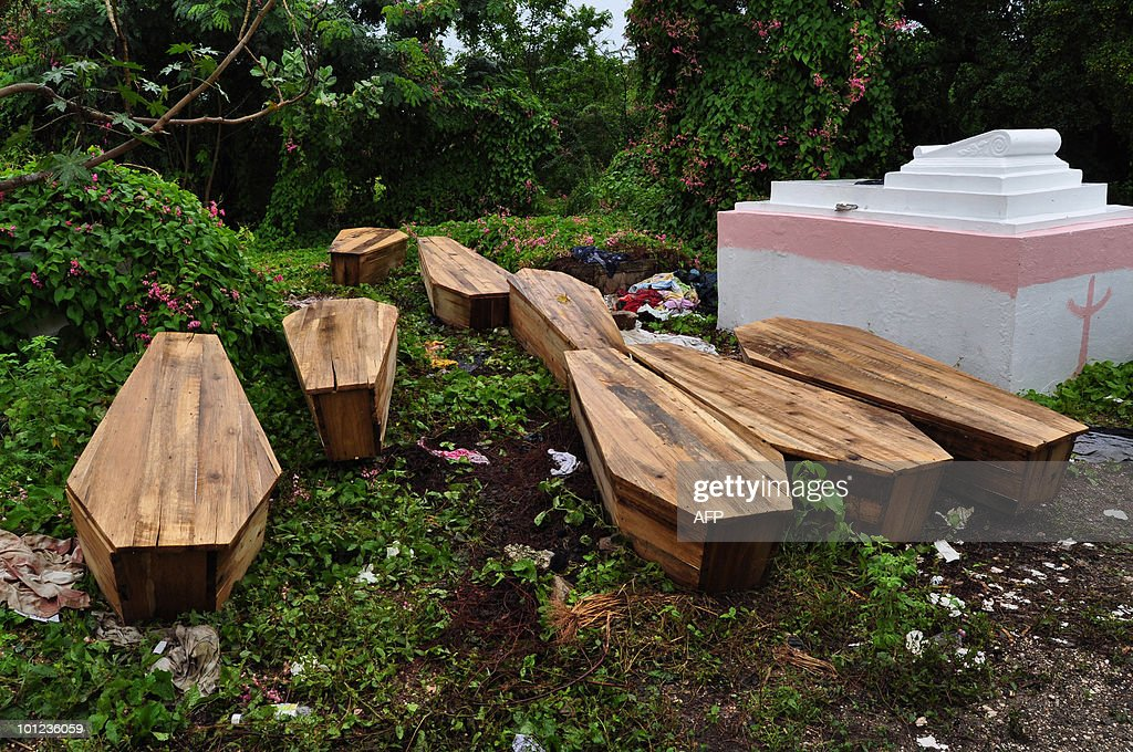 Caskets of victims of the violence in Ki