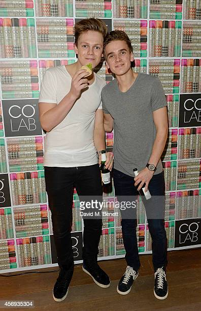 Caspar Lee and Joe Sugg attend as Ruth Crilly unveils a new haircare sensation 'Colab' on October 9 2014 in London England