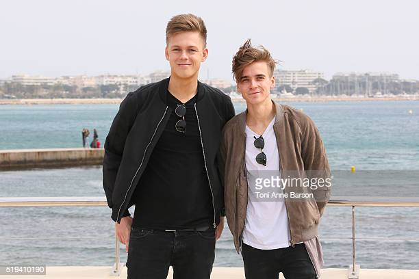 Caspar Lee and Joe Sugg attend 'Joe Capar Hit The Road' photocall as part of MIPTV 2016 on April 5 2016 in Cannes France