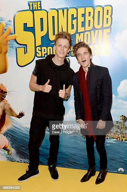 Caspar Lee and Joe Sugg attend 'The Spongebob Movie Sponge Out of Water' UK Gala screening on March 15 2015 in London England
