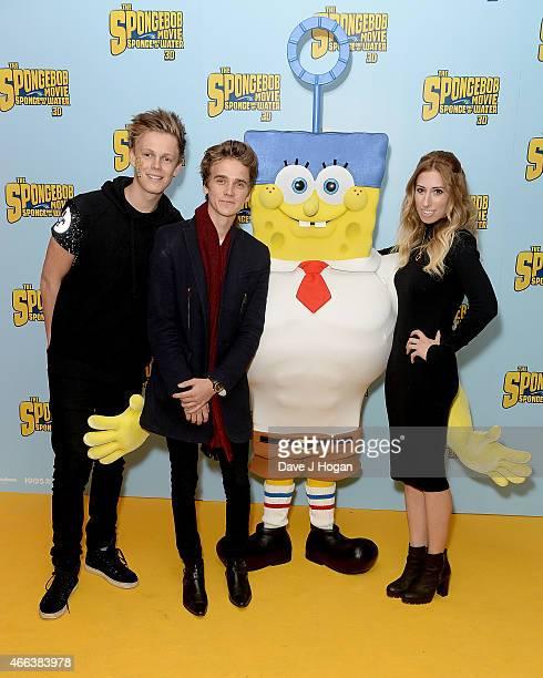Caspar Lee Joe Sugg and Stacey Solomon attend 'The Spongebob Movie Sponge Out of Water' UK Gala screening on March 15 2015 in London England