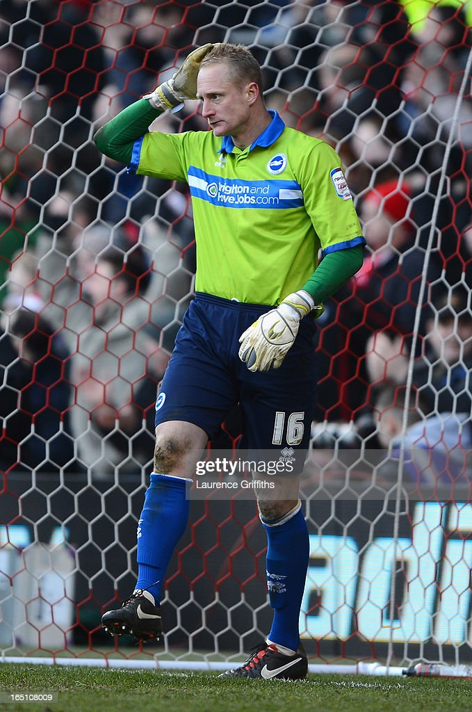 Casper Ankergen of Brighton shows his dissapointment after letting the ball through his legs to concede the equalising goal during the npower Championship match between Nottingham Forest and Brighton and Hove Albion at City Ground on March 30, 2013 in Nottingham, England.