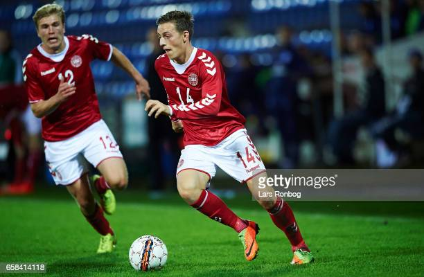 Casper Nielsen of Denmark U21 controls the ball during the U21 International friendly match between Denmark and England at BioNutria Park on March 27...