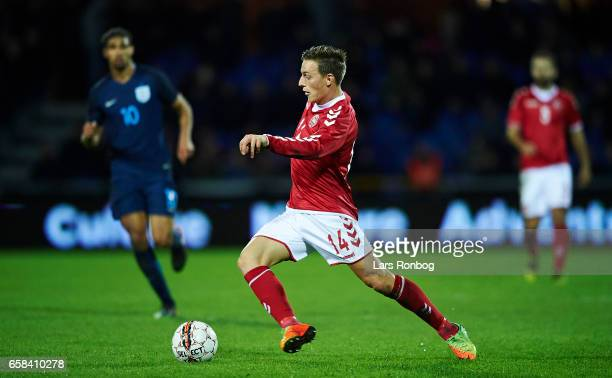 Casper Nielsen of Denmark U21 in action during the U21 International friendly match between Denmark and England at BioNutria Park on March 27 2017 in...