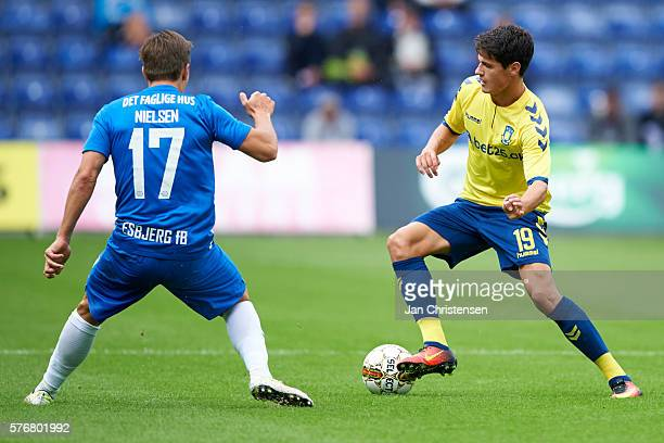 Casper Nielsen of Esbjerg fB and Christian Norgaard of Brondby IF compete for the ball during the Danish Alka Superliga match between Brondby IF and...