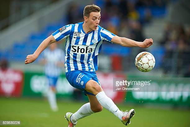 Casper Nielsen of Esbjerg fB controls the ball during the Danish Alka Superliga match between Hobro IK and Esbjerg fB at DS Arena on April 23 2016 in...